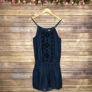 LOFT Outlet Lounge Chambray Embroidered Romper